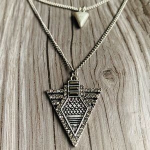 Silver and Black Boho inspired Arrow Necklace
